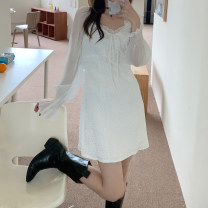 Dress Summer 2021 white S, M Mid length dress singleton  Long sleeves square neck Socket Type A Splicing More than 95%