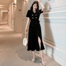 Dress Summer 2021 black S,M,L,XL,2XL,3XL Miniskirt singleton  Short sleeve commute tailored collar High waist other double-breasted Irregular skirt other Others 18-24 years old Type A Korean version hemp
