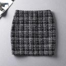skirt Autumn of 2019 4XL,3XL,2XL,XL,L,M,S,XS Short skirt commute High waist skirt lattice Type H Wool wool Zipper, 3D Korean version