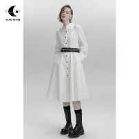 Dress Spring 2021 White, black, white pre-sale S,M,L Mid length dress singleton  Long sleeves commute other Elastic waist Solid color other other shirt sleeve Others 18-24 years old Type A AnnoMundi Retro More than 95% cotton