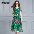 Dress Summer 2017 Green (in stock) M L XL XXL XXXL 4XL Mid length dress singleton  Short sleeve commute V-neck middle-waisted Decor zipper Big swing routine 30-34 years old Ink and wash Ol style Zipper printing D1232 More than 95% Chiffon polyester fiber Polyester 100% Pure e-commerce (online only)