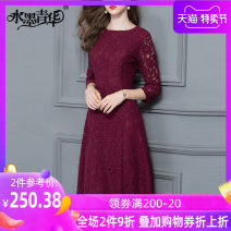 Dress Spring of 2018 Jujube red M L XL XXL XXXL 4XL S Middle-skirt singleton  three quarter sleeve commute Crew neck middle-waisted Solid color zipper Big swing routine 30-34 years old Ink and wash Ol style Cut out zipper lace D1417A 51% (inclusive) - 70% (inclusive) cotton
