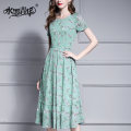 Dress Summer of 2019 green M L XL XXL XXXL 4XL Mid length dress singleton  Short sleeve commute Crew neck middle-waisted Decor Socket Ruffle Skirt routine 30-34 years old Type A Ink and wash Ol style Zipper printing X961 More than 95% polyester fiber Polyester 100% Pure e-commerce (online only)