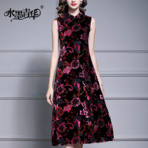 Dress Autumn of 2019 Decor M L XL XXL XXXL 4XL Mid length dress singleton  Sleeveless commute stand collar middle-waisted Decor zipper Big swing routine 30-34 years old Type A Ink and wash Ol style Button printing J104 More than 95% polyester fiber Pure e-commerce (online only)