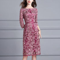 Dress Spring of 2019 claret M L XL XXL XXXL 4XL Mid length dress singleton  three quarter sleeve commute Crew neck middle-waisted Solid color Socket One pace skirt 30-34 years old Ink and wash Ol style Embroidered zipper X326 More than 95% polyester fiber Polyester 100% Pure e-commerce (online only)
