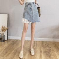 skirt Summer 2021 Short skirt Versatile High waist Denim skirt Solid color Type A 18-24 years old 51% (inclusive) - 70% (inclusive) Denim other