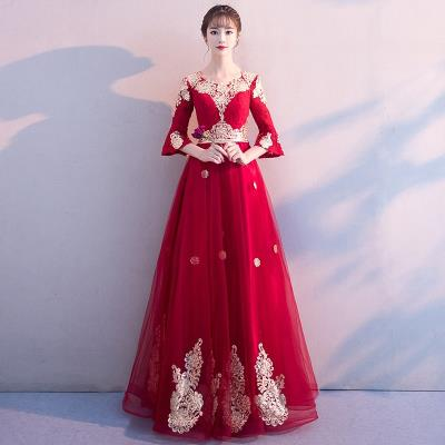 Dress / evening wear Wedding, adulthood, party, company annual meeting, date S. M, l, XL, XXL, XXXL, customized (contact customer service) fashion longuette High waist Autumn of 2018 Self cultivation U-neck Bandage spandex 18-25 years old GS212 elbow sleeve Embroidery Solid color Other / other other
