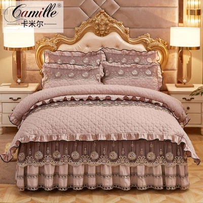 Bedding Set / four piece set / multi piece set Others Embroidery, quilting Solid color 18x27 Other / other Others 4 pieces other Bedspread type Sanding eSdOTmly