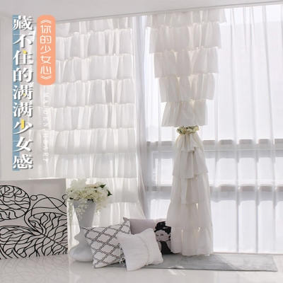 Custom curtain Decoration + semi shading Cloth curtain + gauze curtain European style rice domestic polyester fiber Plants and flowers, solid color Bay window, bay window, French window, plane window, corner window, arc window Flat curtain Price per meter (no processing fee for new products) Y5mg4jrD