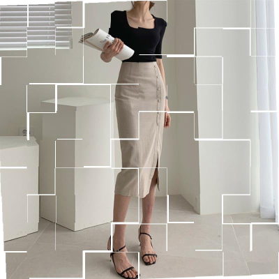 skirt Summer of 2019 XS,S,M,L,XL Apricot skirt commute High waist skirt Solid color Type H 18-24 years old 81% (inclusive) - 90% (inclusive) Button, zipper