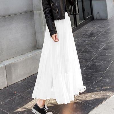 skirt Fall 2017 Two layer yarn [skirt length 70cm], two layer yarn [skirt length 75cm], two layer yarn [skirt length 85CM], two layer yarn [skirt length 90cm] White, light gray, black, smoke gray, naked pink, beige, black (gold line waist), light gray (gold line waist), naked Pink (gold line waist)