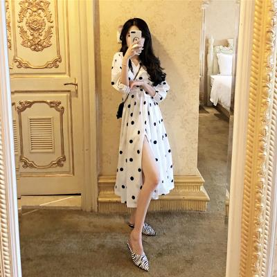 Dress Summer 2020 Black, white XL,L,M,S longuette singleton  three quarter sleeve commute V-neck High waist Dot Socket A-line skirt routine Others 18-24 years old Other / other Korean version polyester fiber