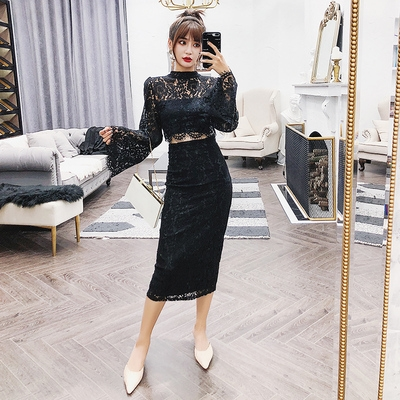 Dress Spring 2020 black S,M,L longuette Two piece set Long sleeves commute Crew neck High waist Solid color Single breasted One pace skirt pagoda sleeve Others 18-24 years old Type H Ol style Button, zipper, lace Lace