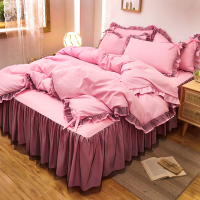 Bedding Set / four piece set / multi piece set Others Quilting Solid color 128x68 Other / other Others 4 pieces 40 Bed skirt Qualified products Princess style twill Reactive Print  Thermal storage