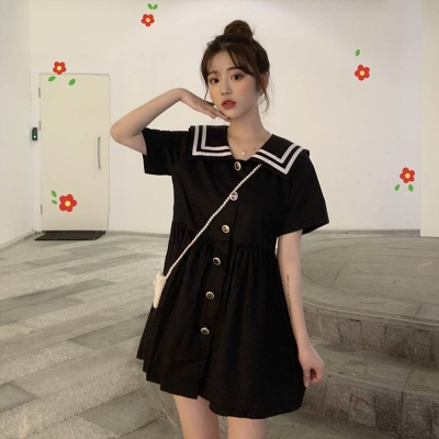 Dress Summer 2020 Black, white M, L Short skirt singleton  Short sleeve Sweet Admiral High waist Single breasted A-line skirt routine Others 18-24 years old Type A 30% and below other