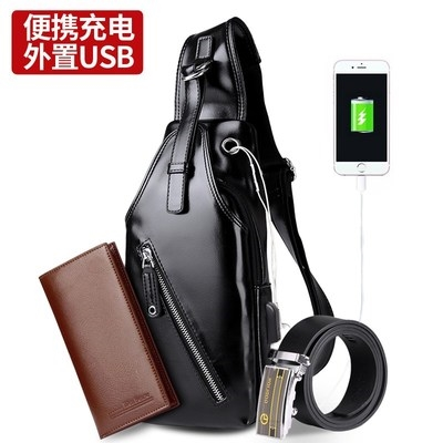 Men's bag Chest pack PU Other / other brand new leisure time leisure time zipper soft Small no Zipper bag, mobile phone bag, certificate bag Solid color nothing Single root youth Vertical square polyester fiber Sewing AF637E06 Inner patch pocket 8 inches soft surface