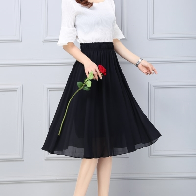 skirt Spring 2020 One size elastic waist Black medium long, off white medium long, red medium long, navy blue medium long, green medium long, black long, off white long, navy blue long, green long, red long longuette High waist Fairy Dress Solid color