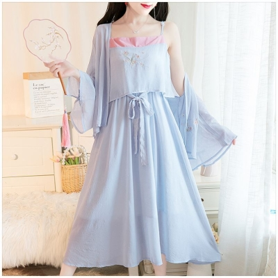 Dress Spring 2020 S,M,L,XL longuette Two piece set elbow sleeve commute Half high collar High waist Solid color zipper Big swing routine Others 25-29 years old Type A Other / other literature Embroidery, buttons IqdeZgJQ 30% and below Chiffon polyester fiber
