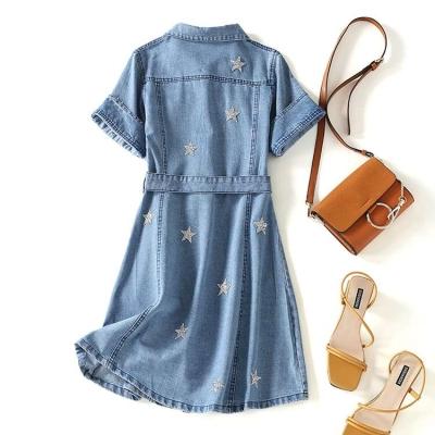 Dress Winter 2016 blue L,S,M,XL Short skirt singleton  Short sleeve High waist Single breasted A-line skirt 1nAg3vrJ