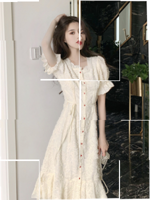 Dress Summer 2020 Apricot S,M,L longuette singleton  Short sleeve commute square neck High waist Solid color Single breasted A-line skirt puff sleeve Others 18-24 years old Type A Other / other Korean version Frenulum A6fbuumH