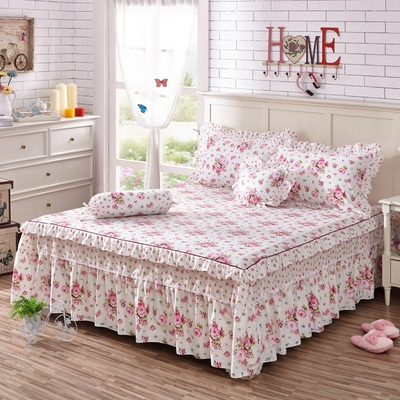 Bed skirt cotton Elegant as a dream, Linxi light powder, pleasant flower embroidery, including flower shadow powder, including flower shadow blue, romantic date Osaman Plants and flowers Qualified products