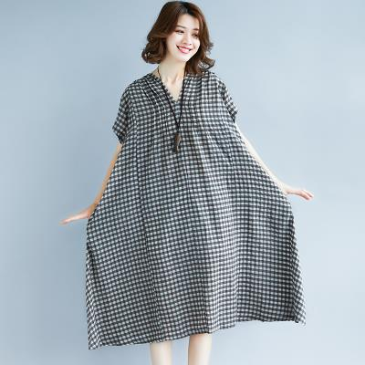 Dress Summer of 2019 Picture color L [100-150 Jin], XL [150-200 Jin] singleton  Short sleeve commute V-neck Loose waist lattice Socket Princess Dress routine 25-29 years old Type A Other / other literature hemp