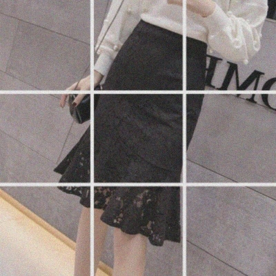 skirt Spring of 2019 S,M,L,XL,2XL Apricot, black, apricot 9776, black 9776 Versatile High waist Ruffle Skirt Solid color Type A 18-24 years old Lace Ruffles, lace