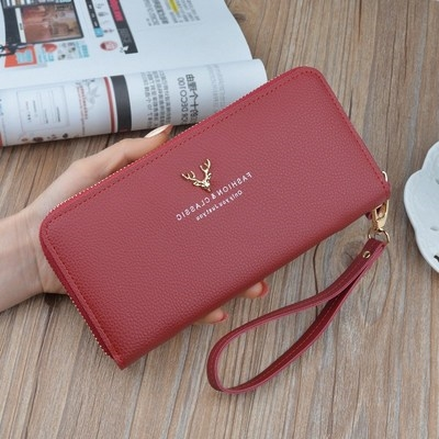 wallet Long Wallet PU Other / other Gray, black, green, purple, pink, jujube brand new Sweet Lady  female zipper Solid color 70% off Horizontal style youth Big cash clip, change slot, zipper bar, card slot Color contrast polyester fiber JX-3283 Artificial leather