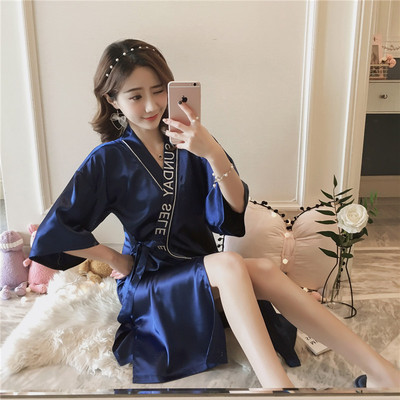 Nightdress Other / other QSM - silk robe champagne, QSM - silk robe bean paste, QSM - silk robe royal blue Average size [suitable for 90-120 Jin], collect baby and give small gift Simplicity Middle sleeve Leisure home Middle-skirt summer Solid color youth V-neck Embroidery Imitation silk