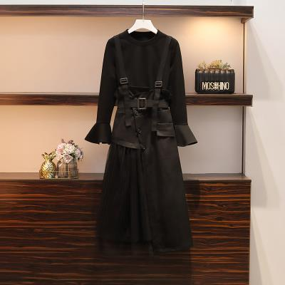 Women's large Summer 2020, spring 2020 black suit  Large L, large XL, 2XL, 3XL, 4XL Dress Two piece set commute easy moderate Socket Long sleeves Solid color Korean version Crew neck routine Cotton, others Three dimensional cutting pagoda sleeve Other / other belt Medium length Princess Dress