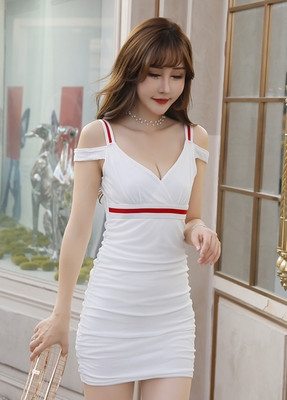 Dress Summer of 2019 White, black, rose, pink, red, yellow, blue S,M,L,XL Short skirt singleton  Short sleeve commute V-neck middle-waisted Solid color Socket One pace skirt camisole 18-24 years old Korean version Pleat, open back, pleat, gauze