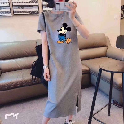 Dress Summer 2020 M,L,XL,XXL,XXXL longuette singleton  Short sleeve commute Crew neck High waist Socket other routine Others 18-24 years old Type H Other / other Korean version U27314 other