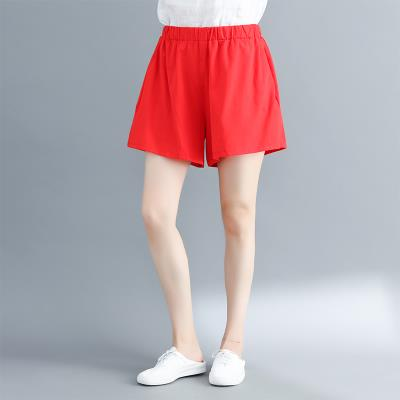 Women's large Summer of 2018 Red, black Large L [100-150 Jin], large XL [150-200 Jin] trousers singleton  commute easy thin Solid color literature hemp Three dimensional cutting Other / other 18-24 years old pocket 81% (inclusive) - 90% (inclusive) shorts