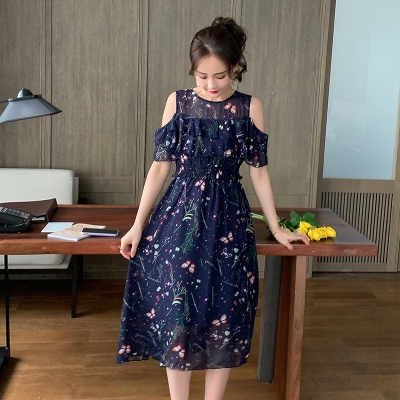 Nursing clothes Picture color M,L,XL,2XL Other / other Socket summer other Medium length Dress Plants and flowers Lift up Chiffon N1RBO9gu