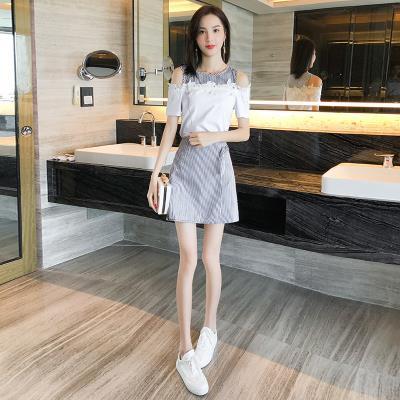 Dress Summer of 2018 white S,M,L,XL,2XL Short skirt Two piece set Sweet stripe A-line skirt Others 18-24 years old Other / other 71% (inclusive) - 80% (inclusive) other cotton
