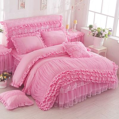 Bedding Set / four piece set / multi piece set Others other Solid color 128x70 Other / other Others 4 pieces other Pink, lavender, rose, scarlet, jade, beige 1.2m (4 ft) bed, 1.5m (5 ft) bed, 1.8m (6 ft) bed, 2.0m (6.6 ft) bed, others Bed skirt Qualified products Princess style Sanding