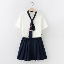 suit Children's flag white 130cm 140cm 150cm 160cm 170cm female summer college Short sleeve + skirt 2 pieces Thin money No model Socket nothing Solid color cotton children Learning reward TQ70170 Class B Cotton 95% polyurethane elastic fiber (spandex) 5% Summer 2021 Chinese Mainland Dongguan City