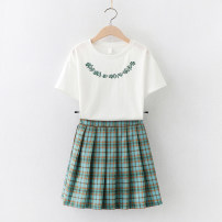 suit Children's flag green 130cm 140cm 150cm 160cm 170cm female summer college Short sleeve + skirt 2 pieces Thin money No model Socket nothing lattice cotton children Learning reward TQ70158 Class B Cotton 95% polyurethane elastic fiber (spandex) 5% Summer 2021 Chinese Mainland Guangdong Province