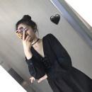 Dress Autumn 2020 black S,M,L,XL Short skirt singleton  Long sleeves commute V-neck High waist Solid color Socket A-line skirt routine Others Type A Korean version polyester