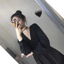 Dress Autumn 2020 black S,M,L,XL Short skirt singleton  Long sleeves commute V-neck High waist Solid color Socket A-line skirt routine Others Type A Korean version polyester