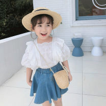 suit Other / other White top, denim skirt 7(90cm),9(100cm),11(110cm),13(120cm),15(130cm) female summer Korean version nothing other F6583 2 years old, 3 years old, 4 years old, 5 years old, 6 years old Chinese Mainland