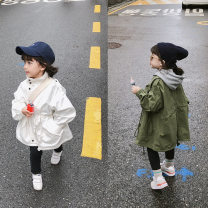 Windbreaker Army green, white 7(100cm),9(110cm),11(120cm),13(130cm),15(140cm) Other / other spring and autumn nothing Zipper shirt Medium length Solid color Detachable belt F4770
