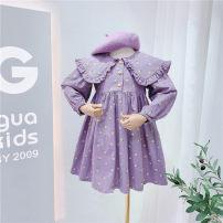 Dress violet female Other / other 7(90cm),9(100cm),11(110cm),13(120cm),15(130cm) Other 100% spring and autumn Long sleeves Broken flowers other other F6897 2 years old, 3 years old, 4 years old, 5 years old, 6 years old