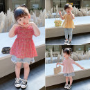 T-shirt Yellow, red, pink Other / other 7(90cm),9(100cm),11(110cm),13(120cm),15(130cm) female summer Short sleeve Korean version nothing other lattice F7126 2 years old, 3 years old, 4 years old, 5 years old, 6 years old
