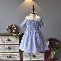 Dress blue Other / other female 7(100cm) 9(110cm) 11(120cm) 13(130cm) 15(140cm) Other 100% summer Korean version stripe F4074