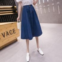 skirt Spring 2021 S,M,L,XL,2XL Dark blue, light blue Mid length dress commute High waist Umbrella skirt Solid color Type A 25-29 years old ///WX 71% (inclusive) - 80% (inclusive) Denim cotton Old, button Korean version