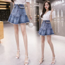 skirt Summer 2021 S,M,L,XL,2XL,3XL,4XL,5XL blue Short skirt commute High waist Ruffle Skirt Solid color Type A 18-24 years old @ WX 71% (inclusive) - 80% (inclusive) Nail bead Korean version
