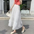 skirt Summer 2021 S,M,L,XL White, black longuette Versatile High waist A-line skirt Solid color Type A 18-24 years old 429///qm 71% (inclusive) - 80% (inclusive) Chiffon Three dimensional decoration