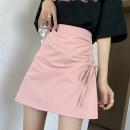 skirt Summer 2021 S,M,L,XL White, pink, black Short skirt Versatile High waist A-line skirt Solid color Type A 18-24 years old ///nan 71% (inclusive) - 80% (inclusive) polyester fiber Frenulum