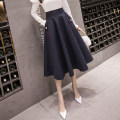 skirt Summer 2021 S,M,L,XL,2XL Off white, Navy, black Mid length dress grace High waist Umbrella skirt Solid color Type A 18-24 years old // nan 71% (inclusive) - 80% (inclusive) brocade cotton Pocket, button